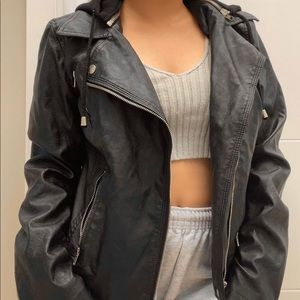 Authentic leather hooded biker jacket